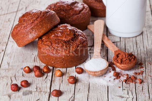 Stock fotó: Friss · sült · torták · tej · cukor · mogyoró