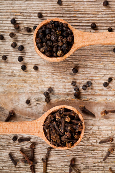 Pimenta preta colheres rústico cozinha Foto stock © marylooo