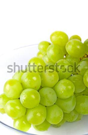 Raisins verts bol blanche vin verre fond Photo stock © marylooo