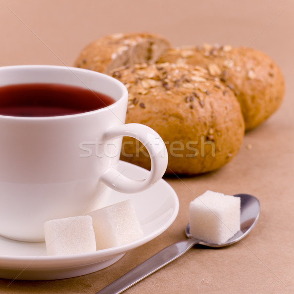 Fincan çay şeker ekmek kahverengi buğday Stok fotoğraf © marylooo