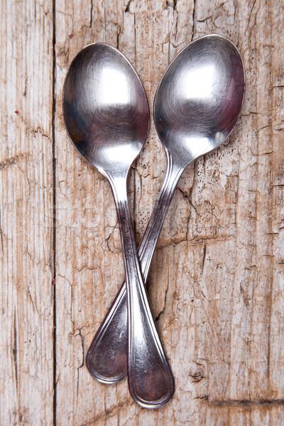 Twee rustiek houten voedsel ontwerp keuken Stockfoto © marylooo