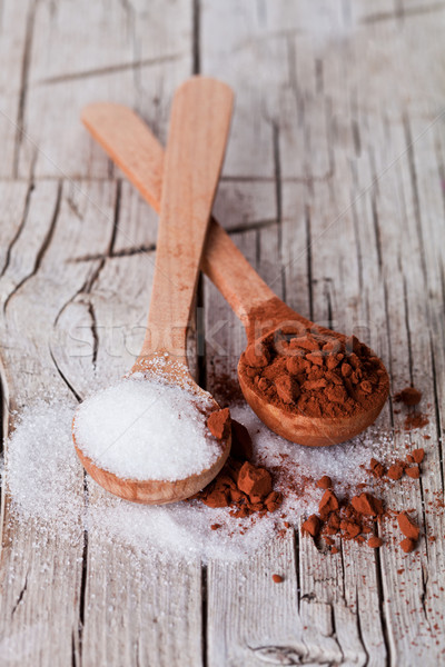 sugar and cocoa powder in spoons  Stock photo © marylooo