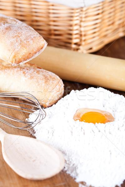 still life of bread, flour, eggs and kitchen utensil  Stock photo © marylooo