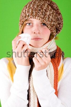 Nő zsebkendő hőmérő portré zöld egészség Stock fotó © marylooo