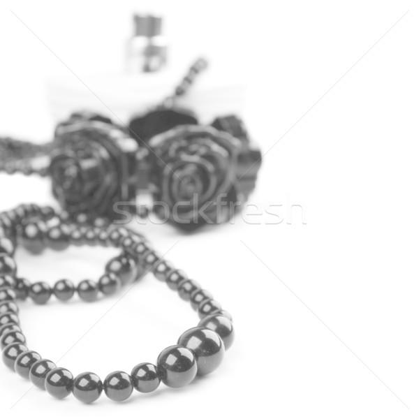 black necklace, bracelet and parfume Stock photo © marylooo