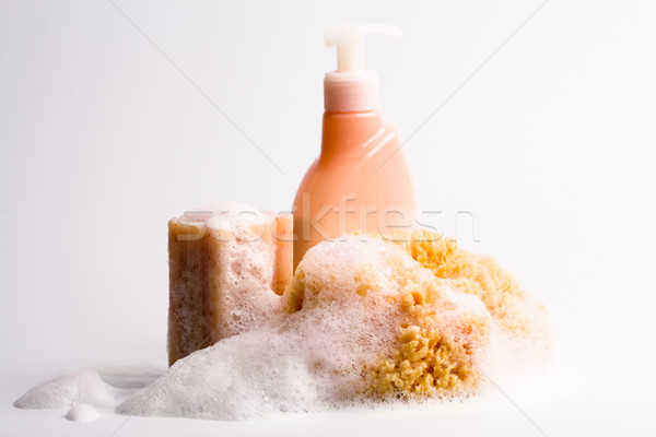 Savon naturelles éponge douche gel Photo stock © marylooo