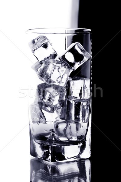 Foto stock: Vidrio · hielo · agua · blanco · negro · alimentos