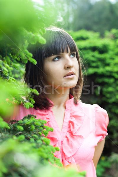 Gyönyörű fiatal lány park közelkép portré nő Stock fotó © marylooo