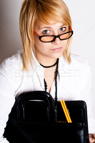 деловая женщина портфеля молодые белый женщину школы Сток-фото © marylooo