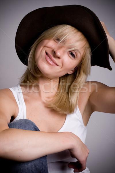 Bella occidentale donna cappello da cowboy primo piano ritratto Foto d'archivio © marylooo