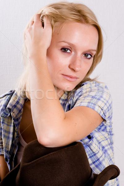 Westerse vrouw cowboyhoed portret mooie Stockfoto © marylooo