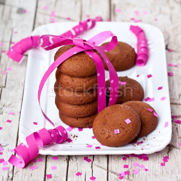 Plaat vers chocolade cookies confetti Stockfoto © marylooo