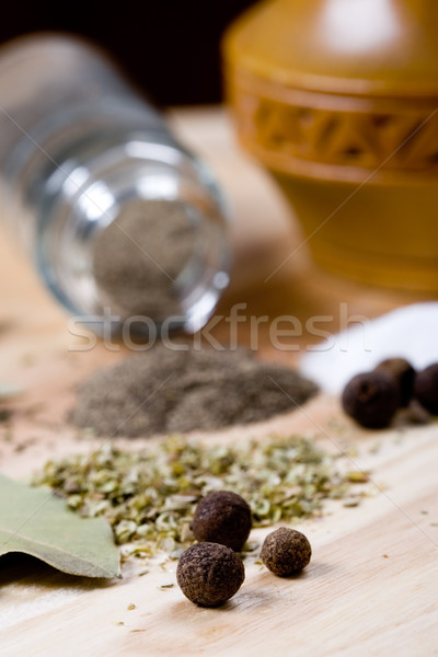 spices: pepper, salt, bay leaves and herbs Stock photo © marylooo