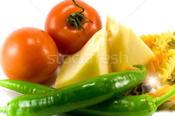 Stockfoto: Kaas · groenten · pasta · witte · voedsel