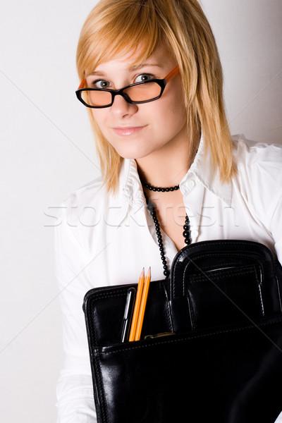 Genç işkadını portföy beyaz kadın okul Stok fotoğraf © marylooo