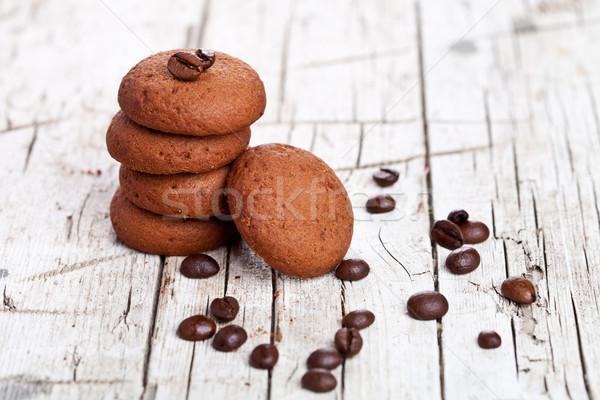Schokolade Cookies Kaffeebohnen rustikal Holz Holz Stock foto © marylooo