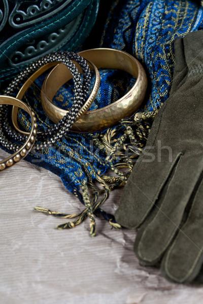 Epocă sac piele mănuşi eşarfă Imagine de stoc © marylooo