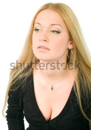 Vrouw zwarte jonge aantrekkelijk zwart wit meisje Stockfoto © marylooo
