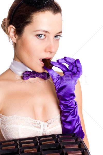 Vrouw korset weinig hoed eten snoep Stockfoto © marylooo