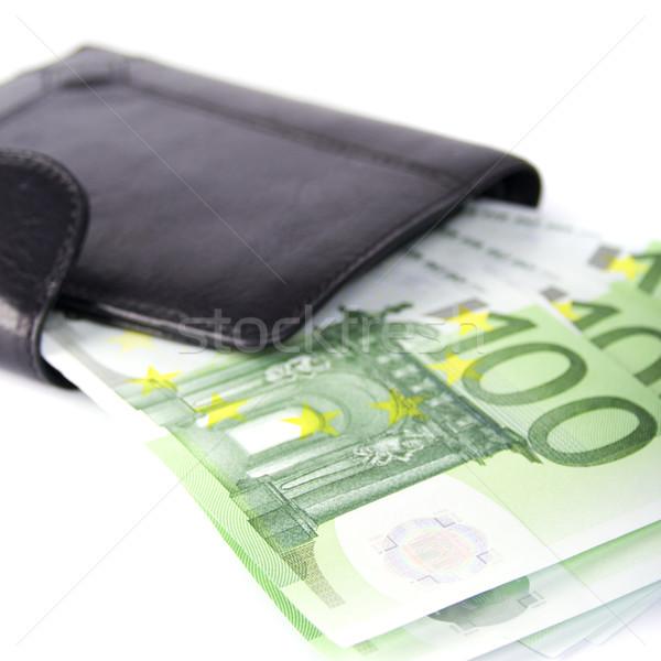 евро кошелька кожа деньги Финансы Сток-фото © marylooo