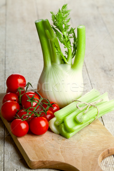 Stock photo: fresh organic fennel, celery and tomatoes
