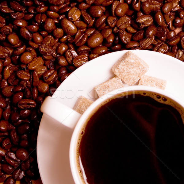 coffee and shugar cubes  Stock photo © marylooo