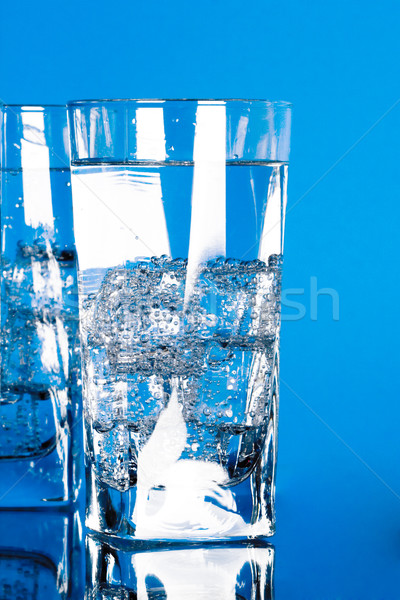 Verres froid eau bleu verre table Photo stock © marylooo