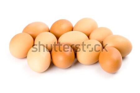 Foto stock: Doze · marrom · ovos · isolado · branco · comida