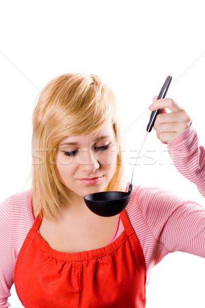 Foto stock: Jóvenes · ama · de · casa · sopa · cucharón · aislado · blanco