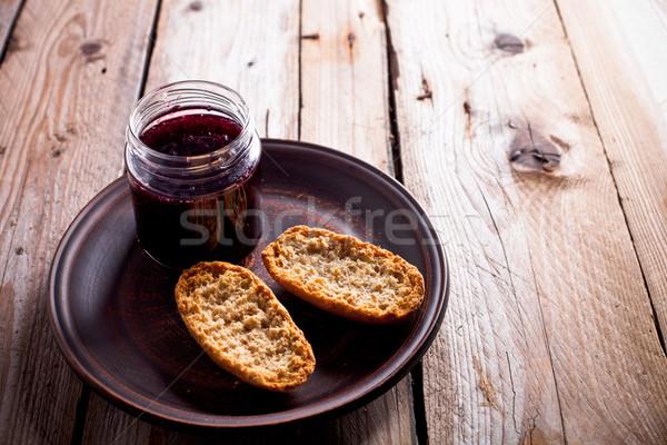 черный смородина Jam стекла банку деревенский Сток-фото © marylooo
