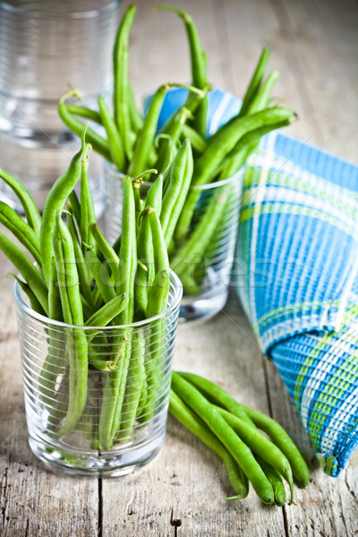green string beans in glasses Stock photo © marylooo