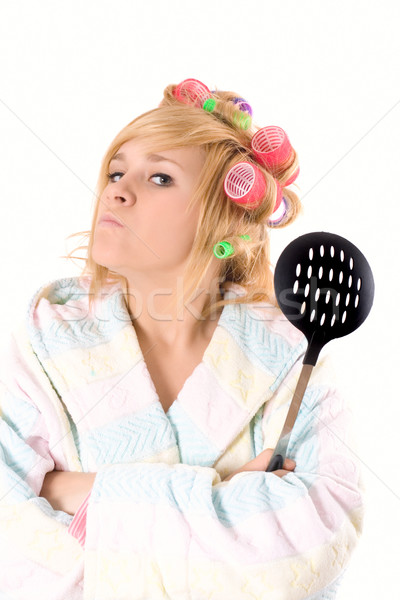 Foto stock: Dona · de · casa · retrato · engraçado · isolado · branco · mulher