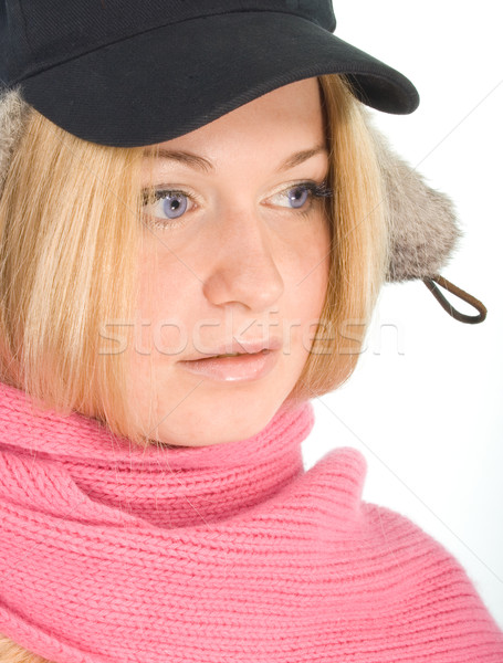 blue-eyed blonde in fur cap and  pink scarf Stock photo © marylooo