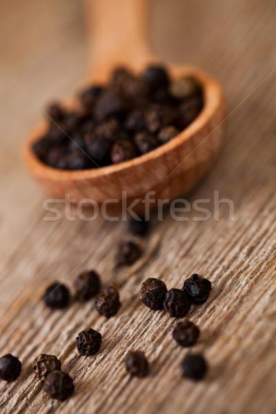 黒コショウ 木製 素朴な キッチン 黒 ストックフォト © marylooo