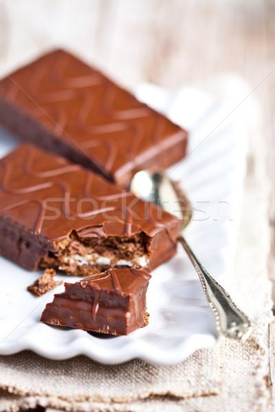 Chocolate escuro bolos colher prato comida aniversário Foto stock © marylooo