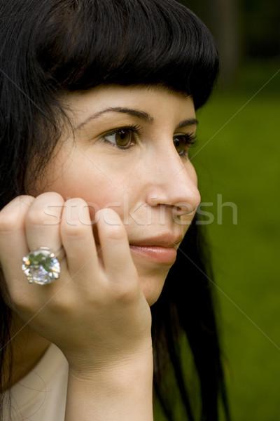 Jeunes brunette portrait parc femme Photo stock © marylooo