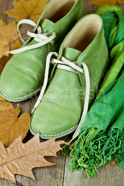 pair of green leather boots, scarf and yellow leaves Stock photo © marylooo