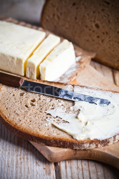 Fresco centeio pão manteiga Foto stock © marylooo
