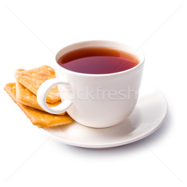 Stockfoto: Beker · thee · cookies · witte · cafe · ontbijt