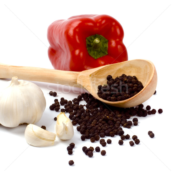 red paprika, garlic and black pepper Stock photo © marylooo