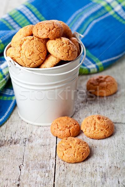 meringue almond cookies in bucket Stock photo © marylooo