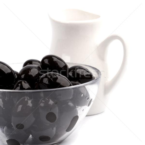 Tigela azeitonas pretas Óleo branco fruto Foto stock © marylooo