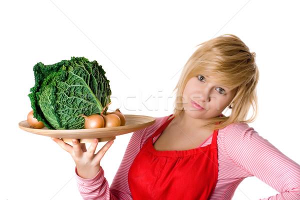 Foto stock: Mulher · fresco · repolho · cebolas · jovem · bela · mulher