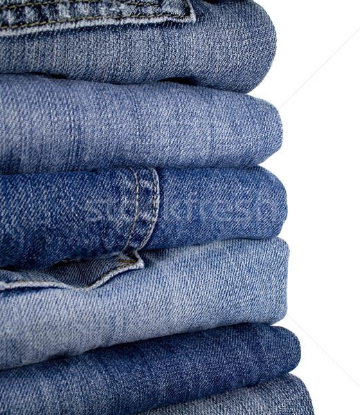 Farmernadrág fehér textúra divat kék farmer Stock fotó © marylooo
