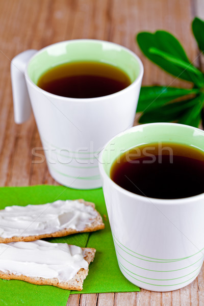 two cups of tea and crackers with cream cheese  Stock photo © marylooo