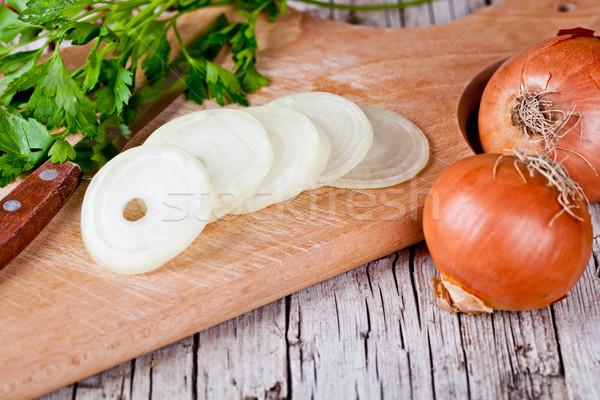 fresh onions, knife and parsley  Stock photo © marylooo