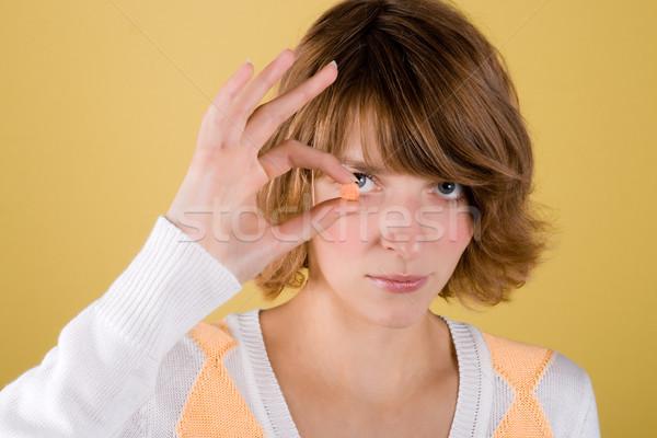 若い女性 ピル 肖像 手 黄色 女性 ストックフォト © marylooo