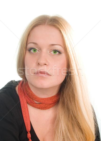 Smutne portret czarno białe kobieta twarz Zdjęcia stock © marylooo