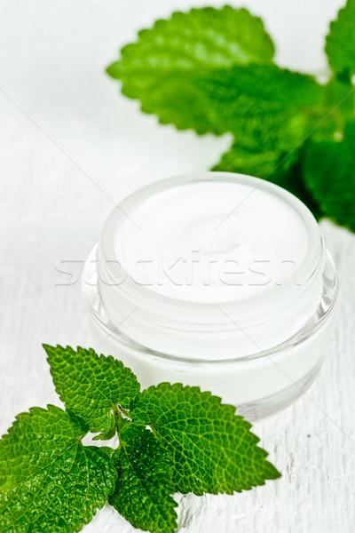 Jar primer plano blanco hoja Foto stock © marylooo