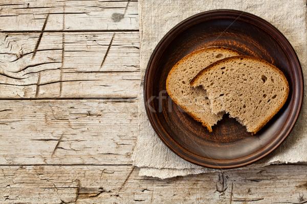Rozs kenyér tányér rusztikus fából készült búza Stock fotó © marylooo